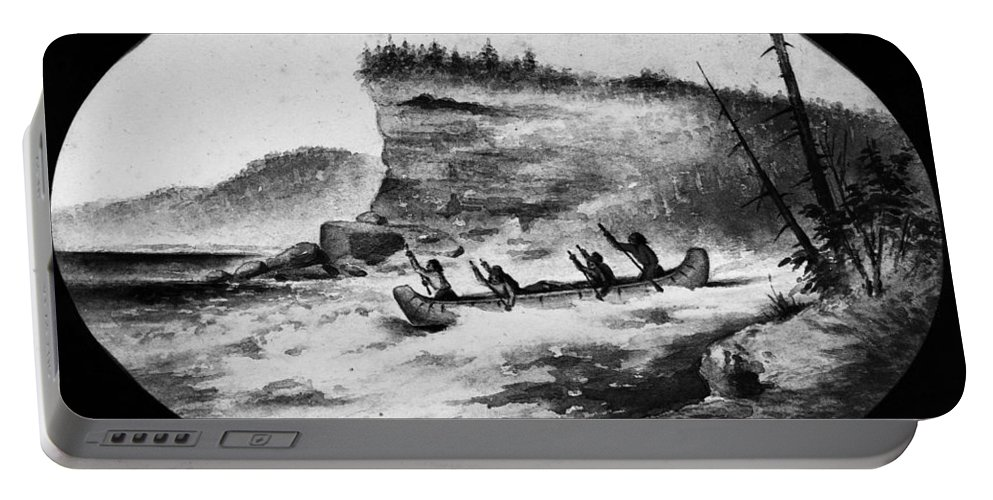 1856 Portable Battery Charger featuring the photograph Krieghoff: Canoe On Rapids by Granger