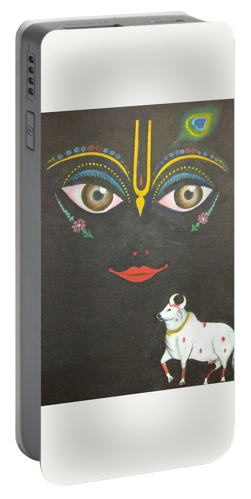 Portable Battery Charger featuring the painting Krishna With Cow by Natarajan Vengapur Govindasamy Pillai
