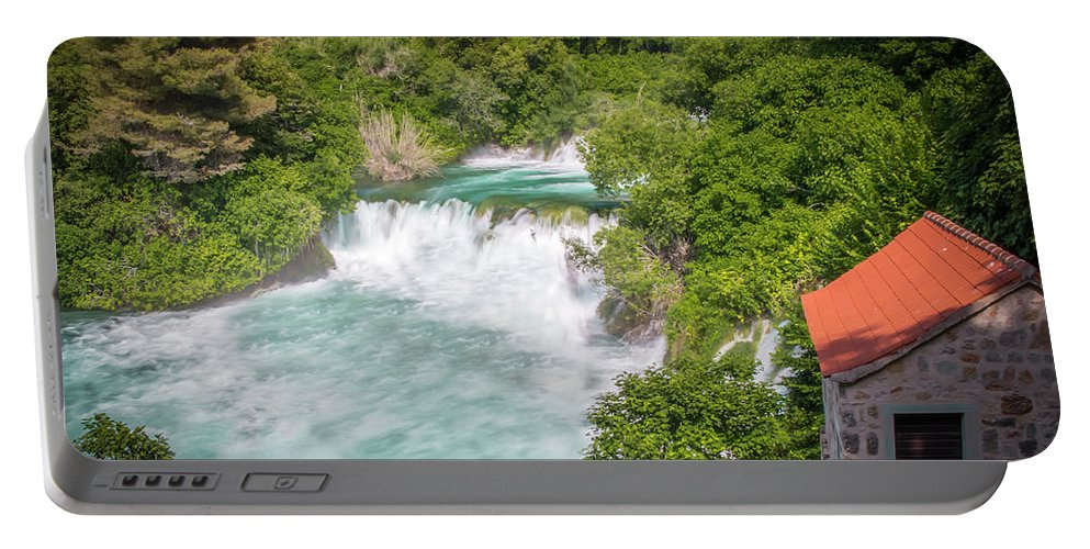 Best City Portable Battery Charger featuring the photograph Krka Waterfall Croatia by Mangesh Bhagat