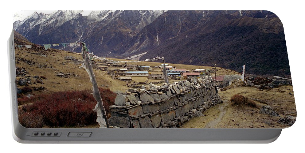 Langtang Portable Battery Charger featuring the photograph Kyanjin Gompa by Patrick Klauss