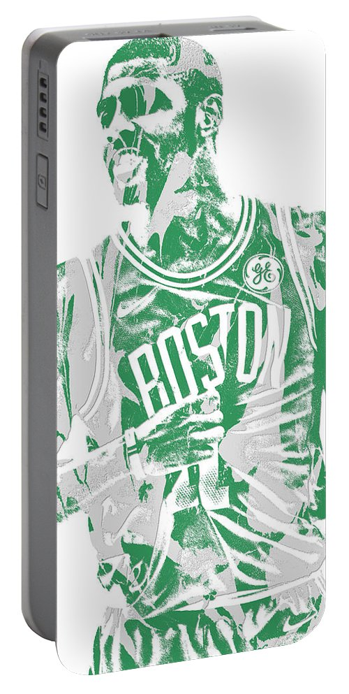 Kyrie Irving Portable Battery Charger featuring the mixed media Kyrie Irving Boston Celtics Pixel Art 7 by Joe Hamilton