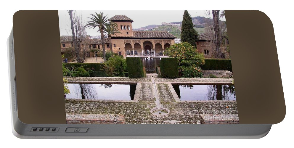 Alhambra Portable Battery Charger featuring the photograph La Alhambra Garden by Thomas Marchessault