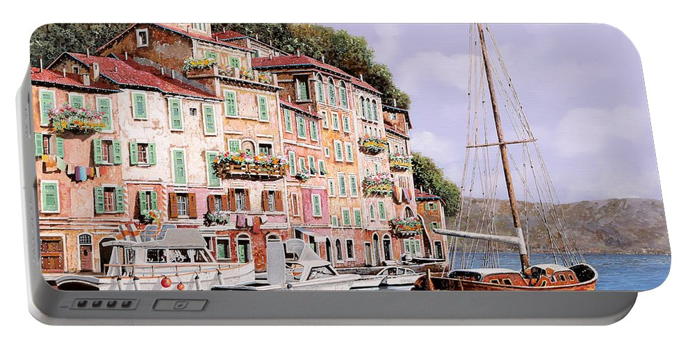 Landscape Portable Battery Charger featuring the painting La Barca Rossa Alla Calata by Guido Borelli