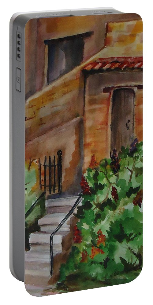 Warm Colors Int The Adobe And Flowers Make This A Perfect Place To Take A Siesta. City Scape Portable Battery Charger featuring the painting La Casitas by Charme Curtin