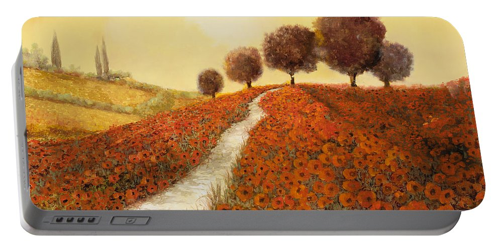 Tuscany Portable Battery Charger featuring the painting La Collina Dei Papaveri by Guido Borelli