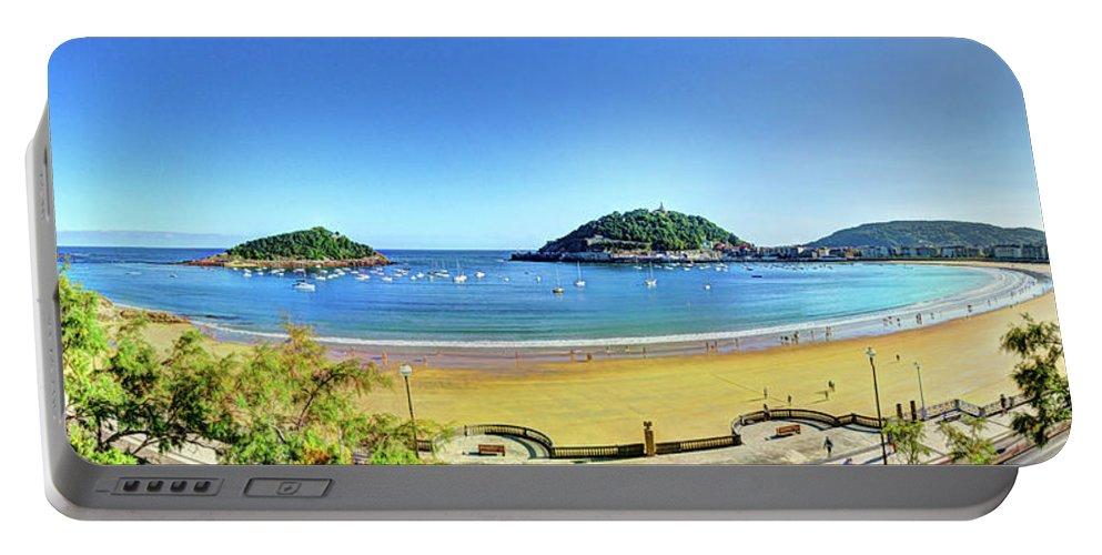 San Sebastian Portable Battery Charger featuring the photograph La Concha Bay San Sebastian by Weston Westmoreland
