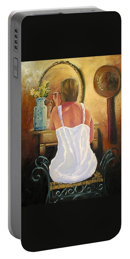 People Portable Battery Charger featuring the painting La Coqueta by Arturo Vilmenay