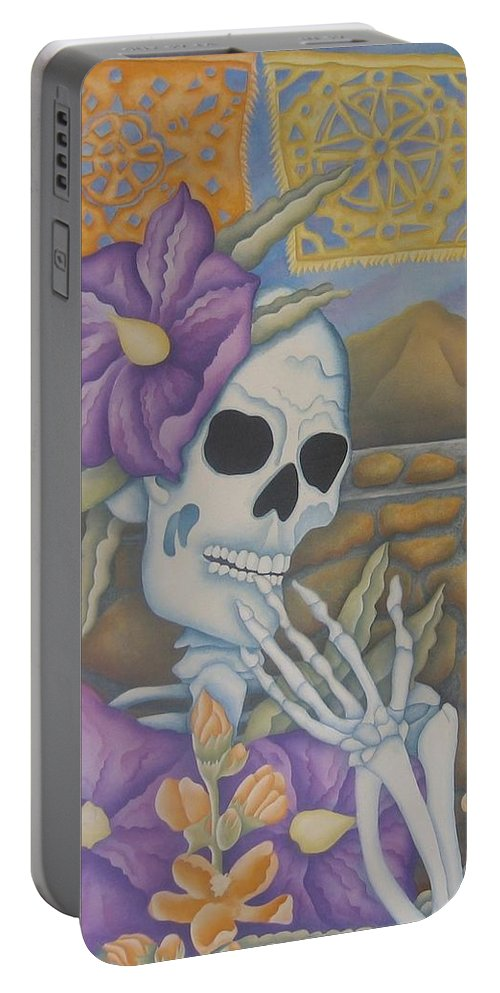 Calavera Portable Battery Charger featuring the painting La Coqueta- The Coquette by Jeniffer Stapher-Thomas