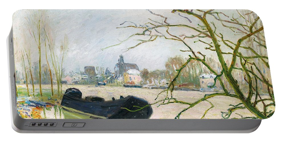 Alfred Sisley Portable Battery Charger featuring the painting La Crue Du Loing A Moret by Alfred Sisley