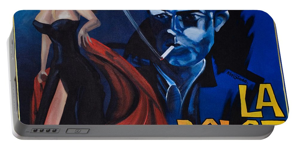 Movie Poster Portable Battery Charger featuring the painting La Dolce Vita by Kelly Jade King