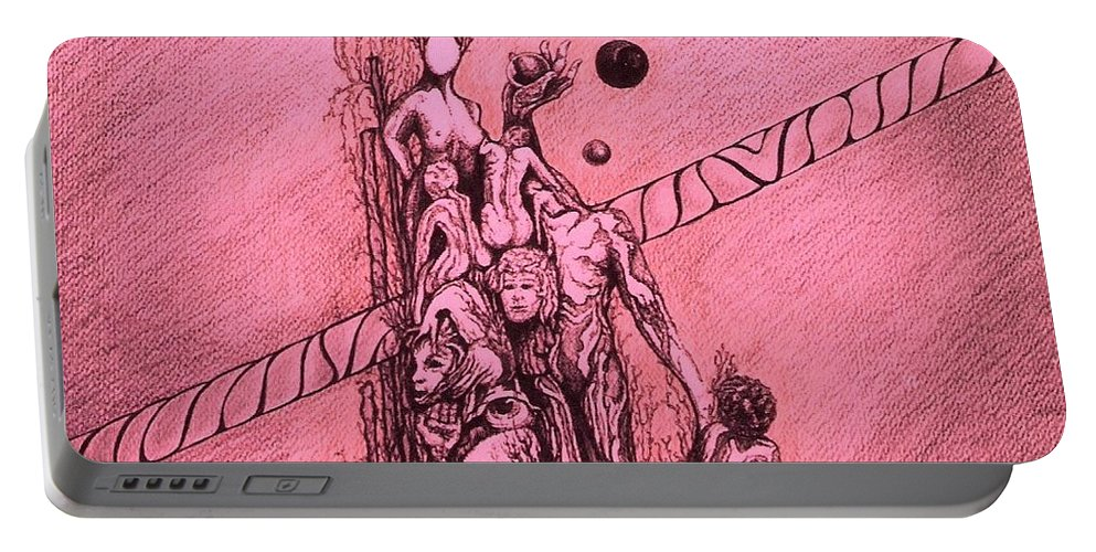 Surreal Artwork Portable Battery Charger featuring the painting La Familia by Jordana Sands