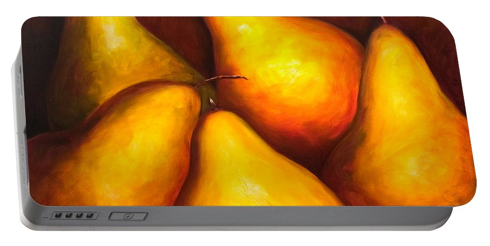 Still Life Yellow Portable Battery Charger featuring the painting La Familia by Shannon Grissom