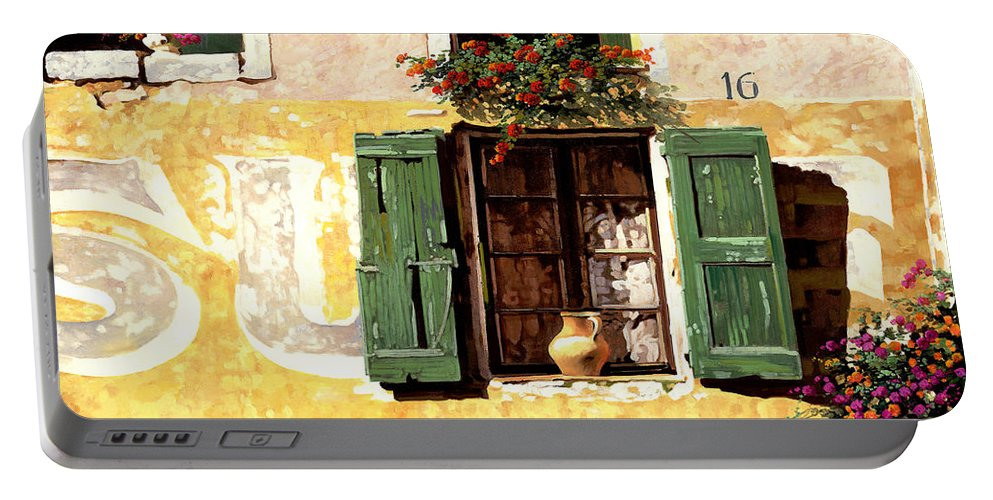 Wallscape Portable Battery Charger featuring the painting la finestra di Sue by Guido Borelli