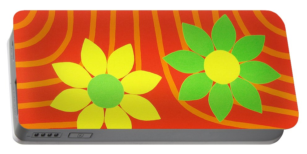 Orange Portable Battery Charger featuring the painting La Flor De La Vida by Oliver Johnston