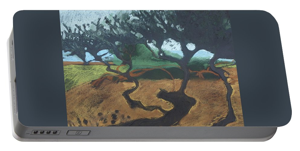 Contemporary Tree Landscape Portable Battery Charger featuring the drawing La Jolla I by Leah Tomaino