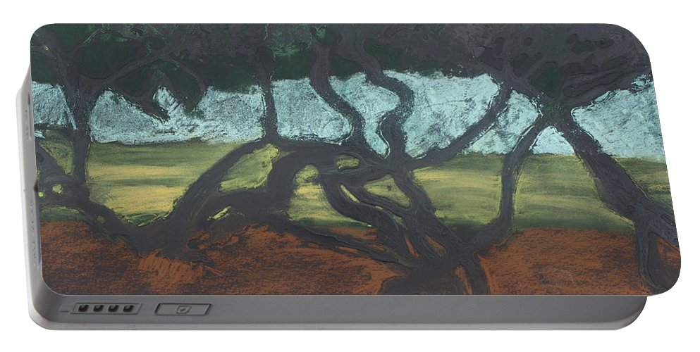 Contemporary Tree Landscape Portable Battery Charger featuring the mixed media La Jolla II by Leah Tomaino