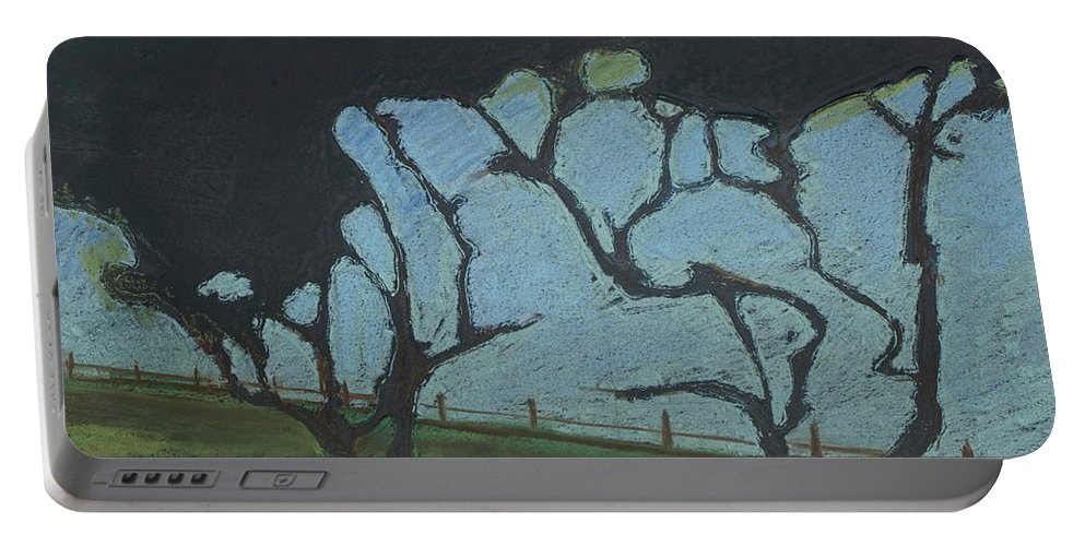 Contemporary Tree Landscape Portable Battery Charger featuring the mixed media La Jolla IIi by Leah Tomaino