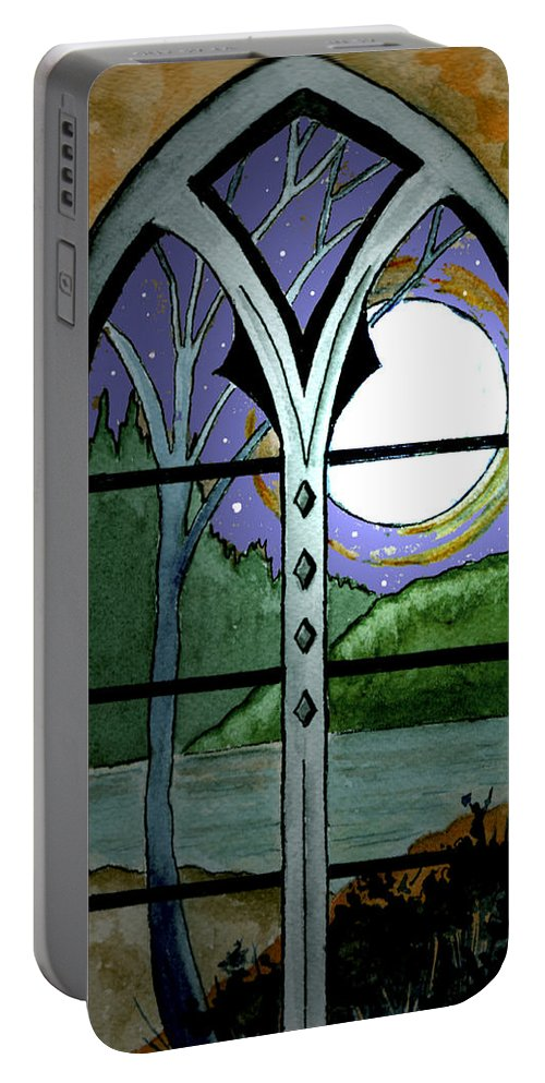 Landscape Portable Battery Charger featuring the painting La Luna by Brenda Owen