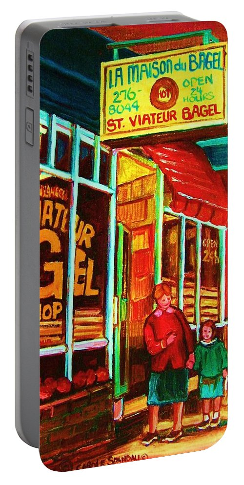 Montreal Portable Battery Charger featuring the painting La Maison Du Bagel by Carole Spandau