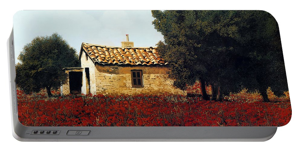 Tuscany Portable Battery Charger featuring the painting La Masseria Tra I Papaveri by Guido Borelli