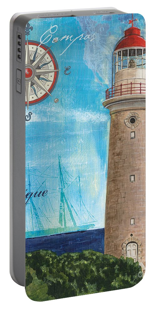 Coastal Portable Battery Charger featuring the painting La Mer by Debbie DeWitt