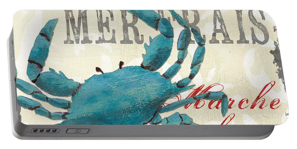 Coastal Portable Battery Charger featuring the painting La Mer Shellfish 1 by Debbie DeWitt