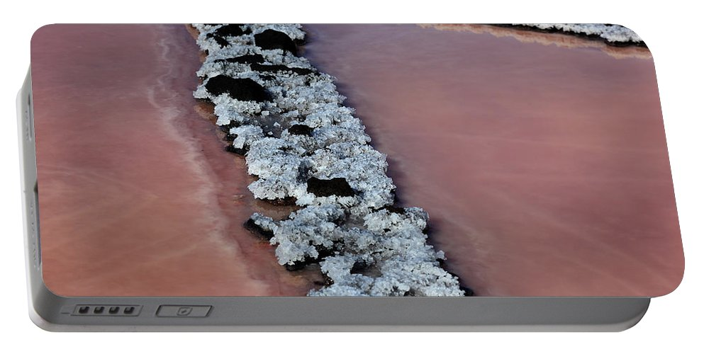 Palma Portable Battery Charger featuring the photograph La Palma, Canary Island, Red Algae, Dunaliella Salina In The Crystallization Basin by Heinz Tschanz-Hofmann