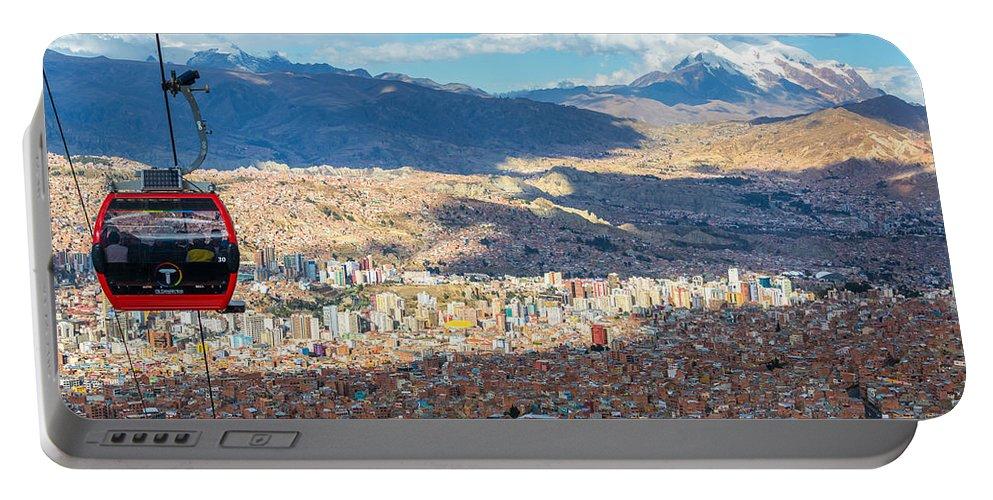 La Paz Portable Battery Charger featuring the photograph La Paz Cable Car by Jess Kraft