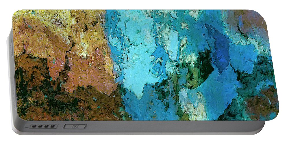 Abstract Portable Battery Charger featuring the painting La Playa by Dominic Piperata