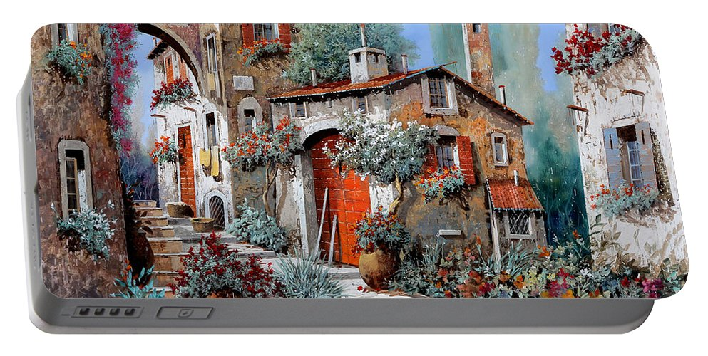 Red Door Portable Battery Charger featuring the painting La Porta Rossa by Guido Borelli