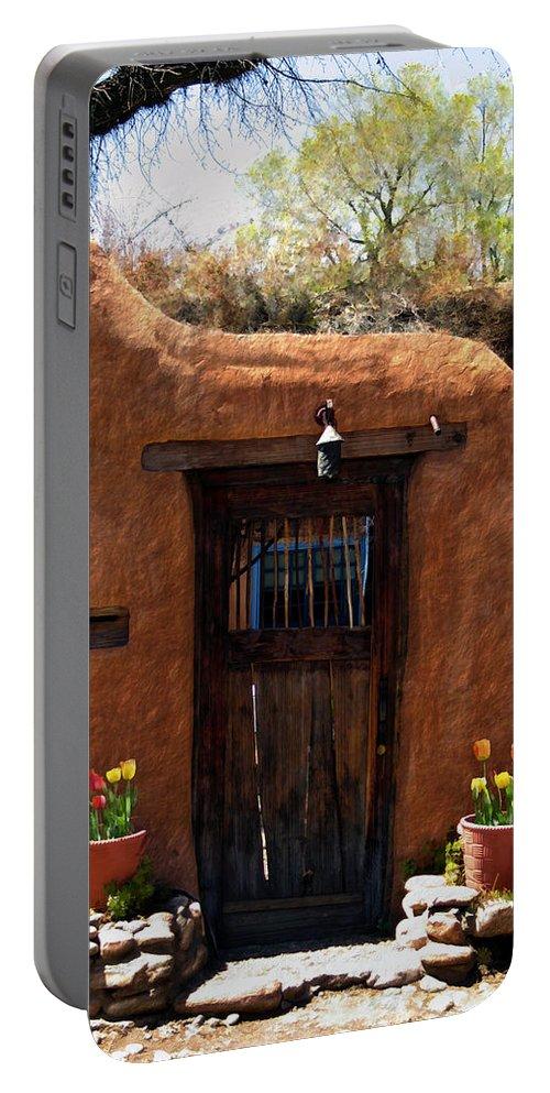 Door Portable Battery Charger featuring the photograph La Puerta Marron Vieja - The Old Brown Door by Kurt Van Wagner