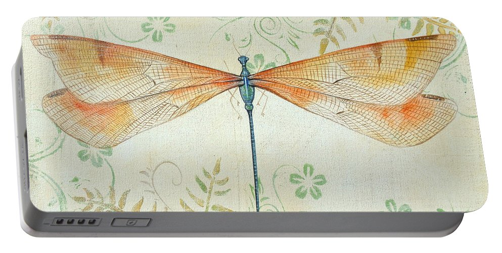 Acrylic Painting Portable Battery Charger featuring the painting La Sauge Libellule-2 by Jean PLout