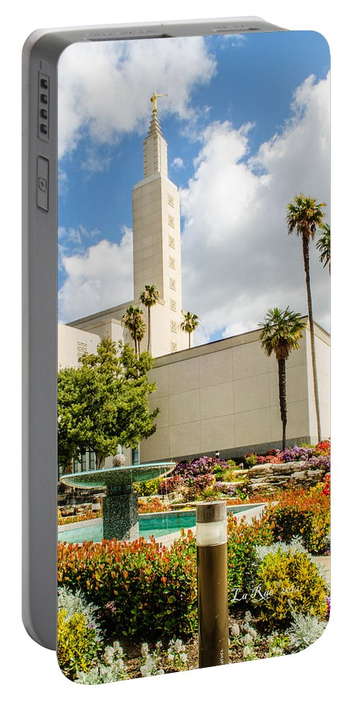 Lds Temple Photography Portable Battery Charger featuring the photograph La Temple Gardens by La Rae Roberts