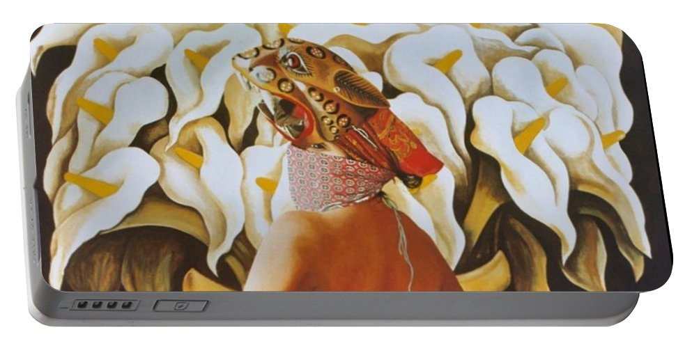 Hyperrealism Portable Battery Charger featuring the painting La Tigresa by Michael Earney