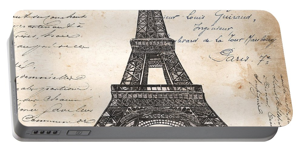 Eiffel Tower Portable Battery Charger featuring the painting La Tour Eiffel by Debbie DeWitt