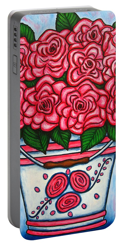 Rose Portable Battery Charger featuring the painting La Vie En Rose by Lisa Lorenz