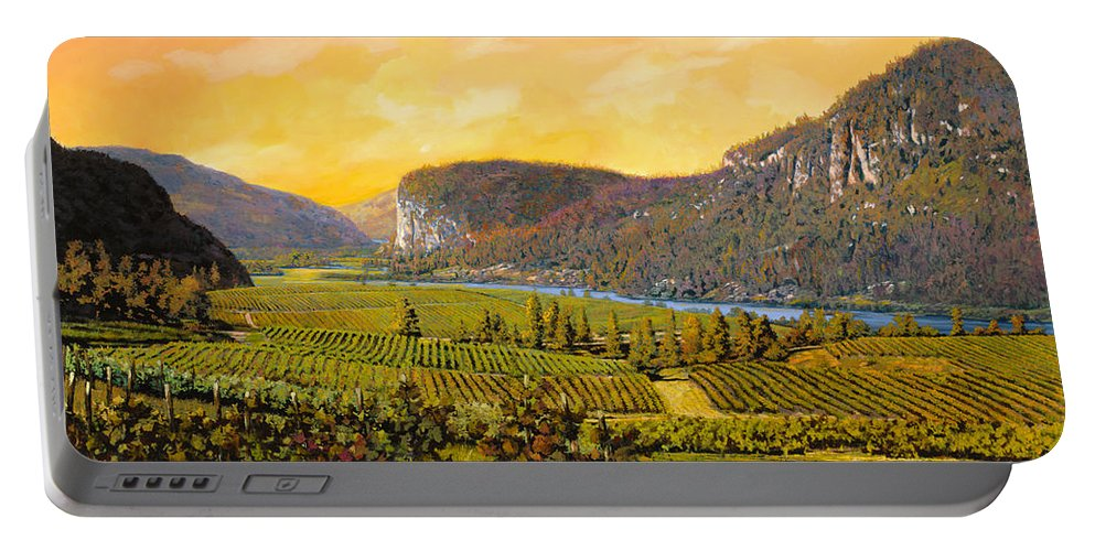 Wine Portable Battery Charger featuring the painting La Vigna Sul Fiume by Guido Borelli