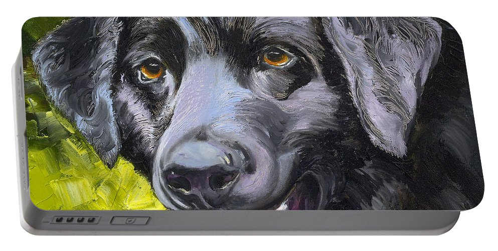 Labrador Retriever Portable Battery Charger featuring the painting Lab Out Of The Pond by Susan A Becker
