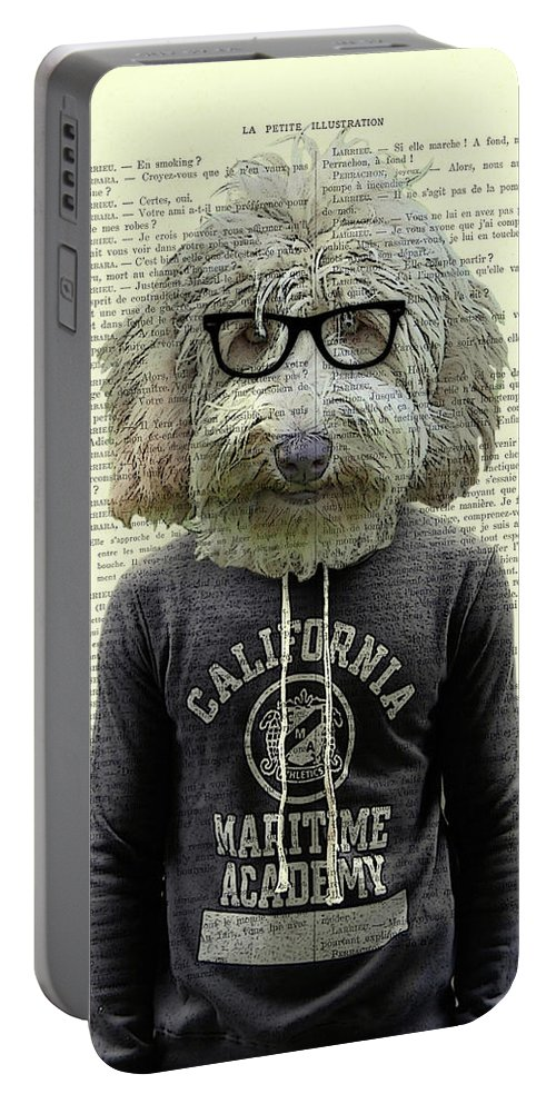 Labradoodle Portable Battery Charger featuring the digital art Labradoodle Dog Portrait Art by Madame Memento