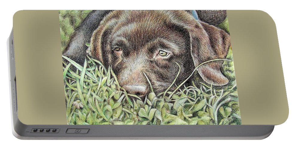 Dog Portable Battery Charger featuring the pastel Labrador Puppy by Nicole Zeug