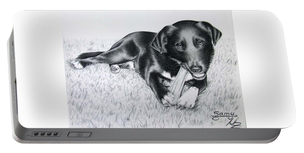 Dog Portable Battery Charger featuring the drawing Labrador Samy by Nicole Zeug