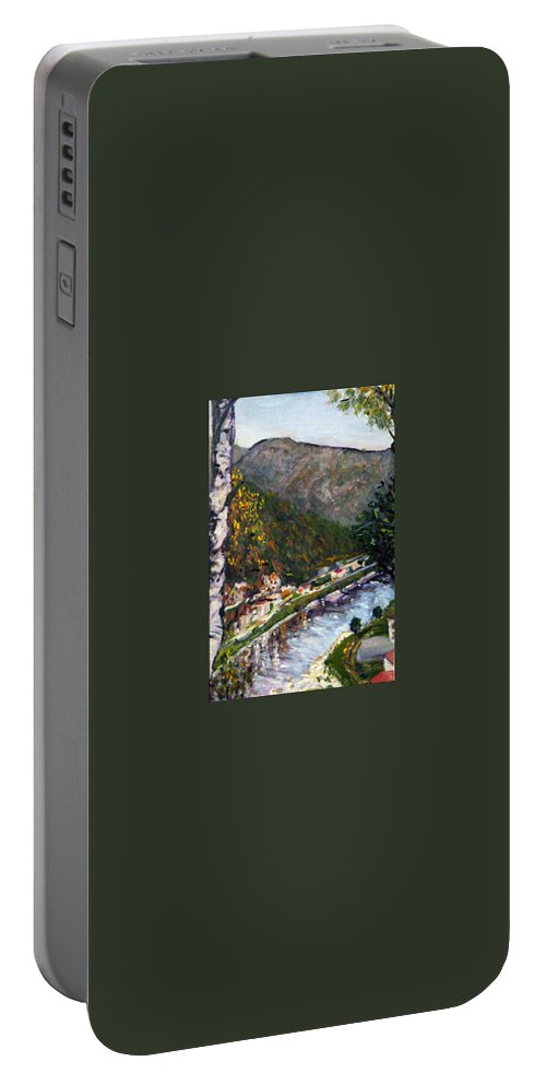 Landscape Portable Battery Charger featuring the painting Labske Udoli by Pablo de Choros