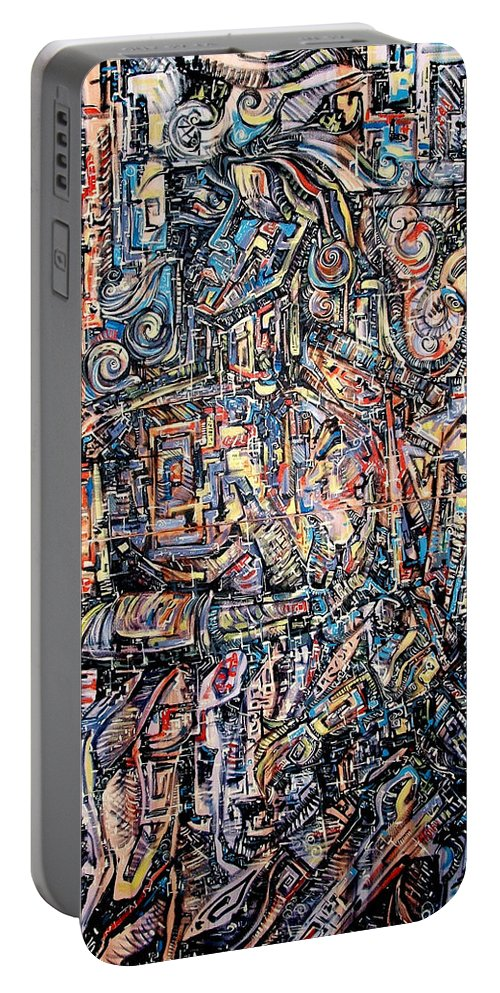 Surrealism Portable Battery Charger featuring the painting Labyrinth Of Sorrows by Darwin Leon