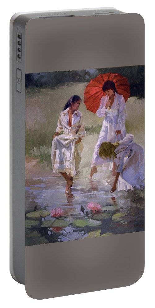 Figurative Portable Battery Charger featuring the painting Ladies And Lilies by Betty Jean Billups