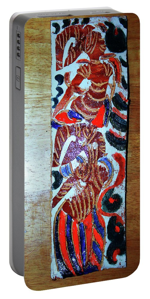 Plaquesmamamama Africa Twojesus Portable Battery Charger featuring the ceramic art Ladies Await 11 by Gloria Ssali