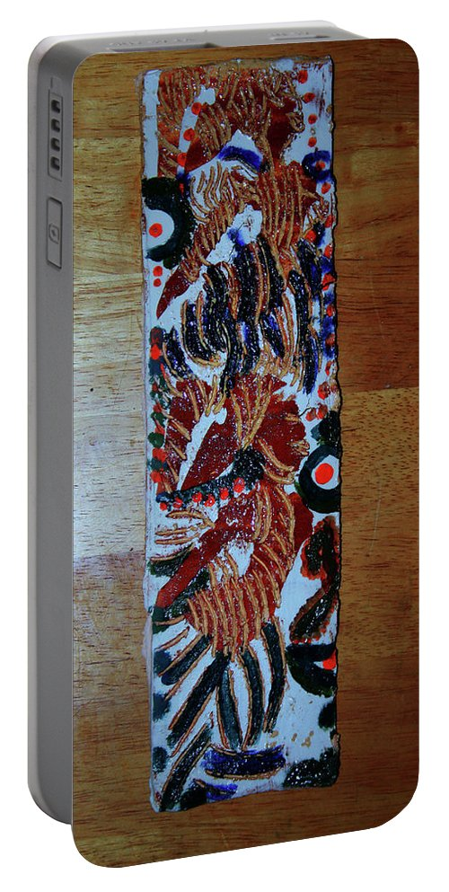 Jesus Elohimplaquesmamamama Africa Twojesus Portable Battery Charger featuring the ceramic art Ladies Await 2 by Gloria Ssali