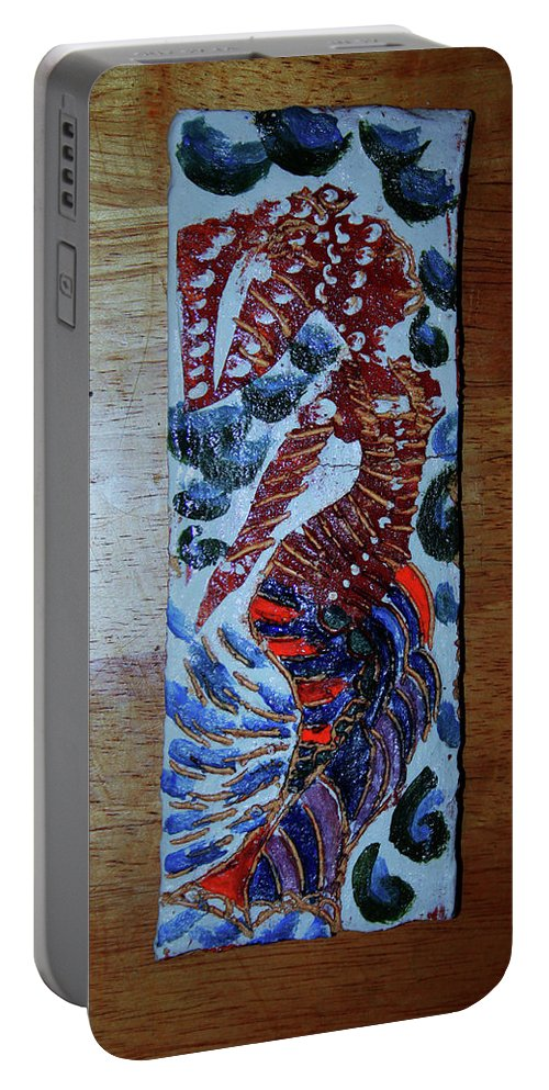 Jesus Elohimplaquesmamamama Africa Twojesus Portable Battery Charger featuring the ceramic art Ladies Await 4 by Gloria Ssali