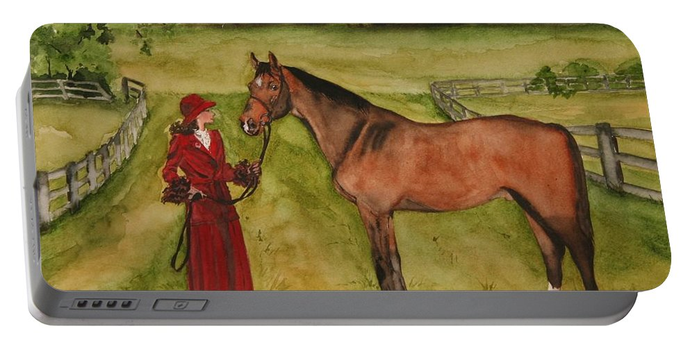 Horse Portable Battery Charger featuring the painting Lady and Horse by Jean Blackmer