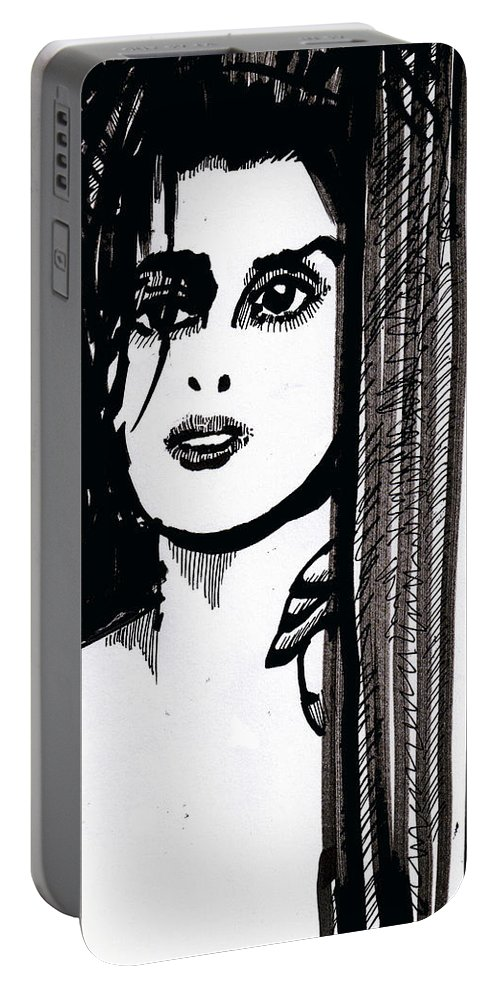 Sad Lady Portable Battery Charger featuring the drawing Lady At The Door by Seth Weaver