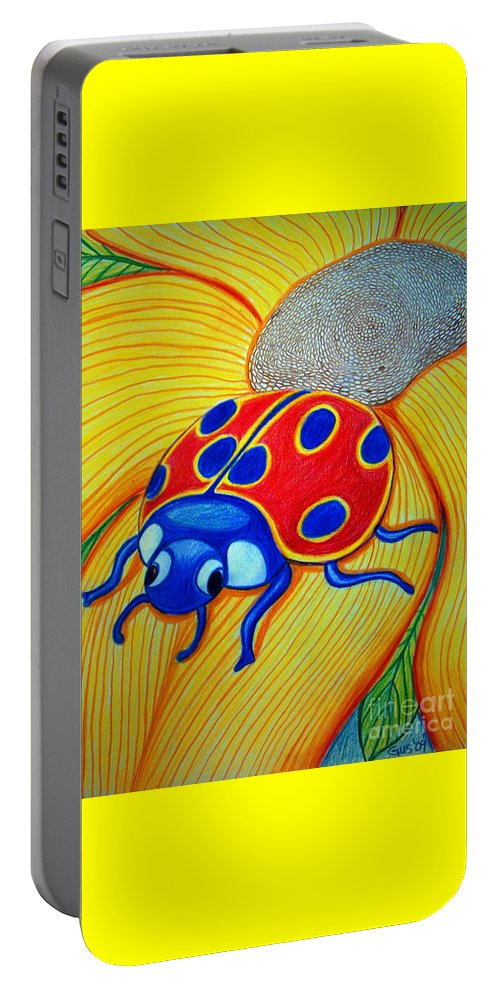 Lady Bug Portable Battery Charger featuring the drawing Lady Bug by Nick Gustafson